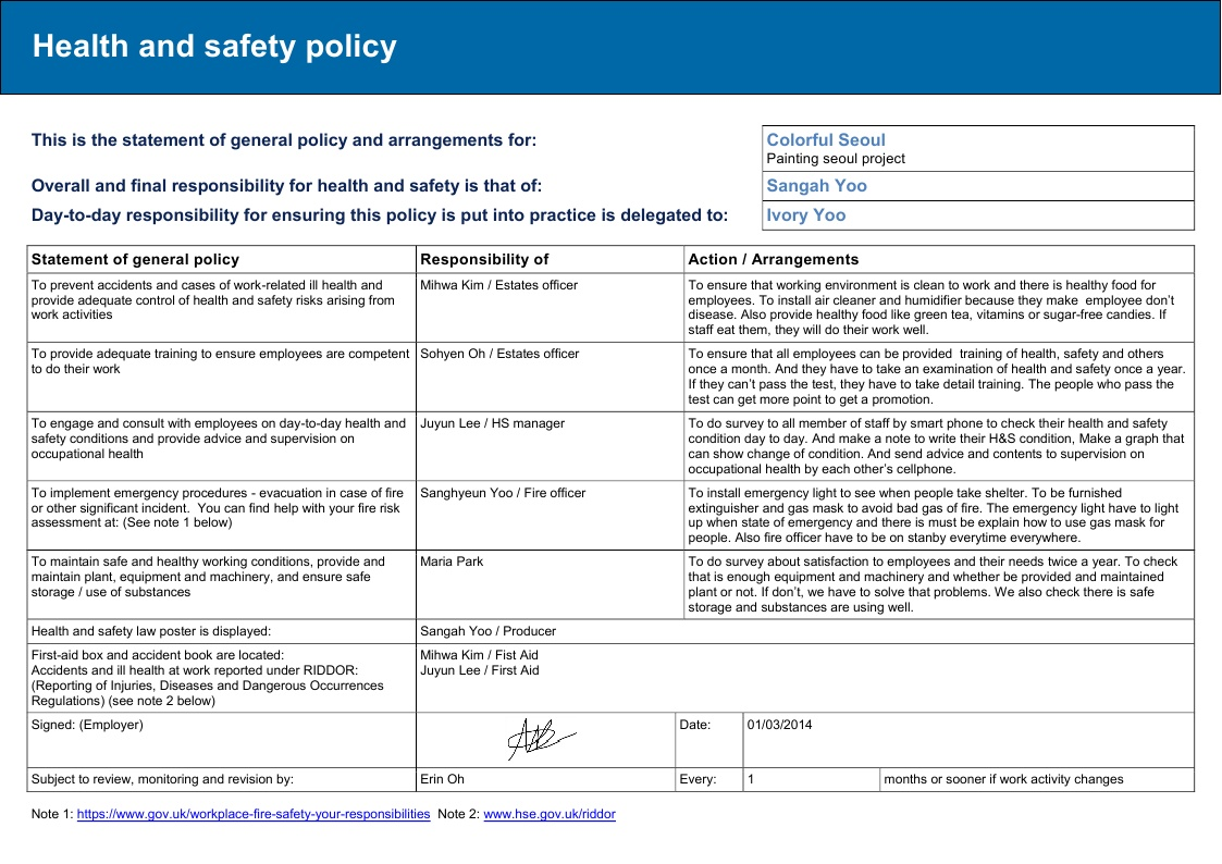 download a health and safety policy